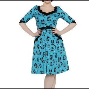Voodoo Vixen Katnis Blue Flared Cat Dress Medium